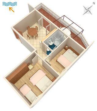 Marina, Plan dans l'hébergement en type apartment, WiFi.