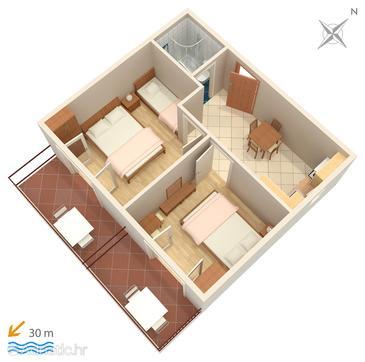 Makarska, Plan in the apartment, dopusteni kucni ljubimci i WIFI.