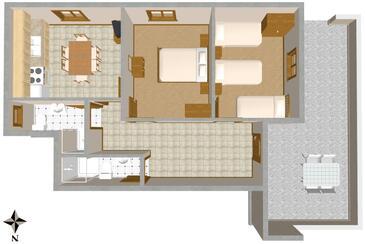 Sali, Plan kwatery w zakwaterowaniu typu apartment, dopusteni kucni ljubimci i WIFI.