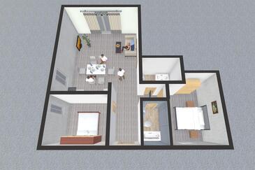 Korčula, Půdorys v ubytování typu apartment, domácí mazlíčci povoleni a WiFi.