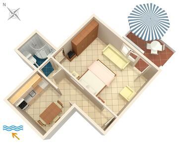 Korčula, Načrt v nastanitvi vrste apartment, WiFi.