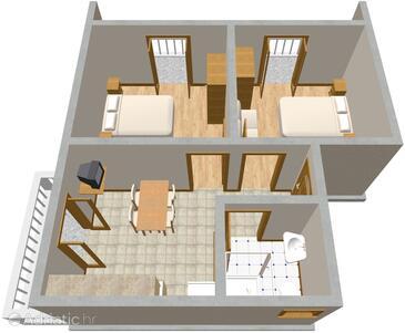 Brodarica, Grundriss in folgender Unterkunftsart apartment, WiFi.