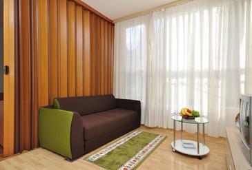 Split, Living room in the studio-apartment, dopusteni kucni ljubimci i WIFI.