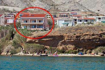 Pag, Pag, Objekt 9201 - Ubytování v blízkosti moře s oblázkovou pláží.