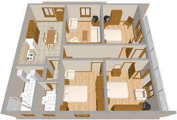 Brodarica, Půdorys v ubytování typu apartment, domácí mazlíčci povoleni a WiFi.