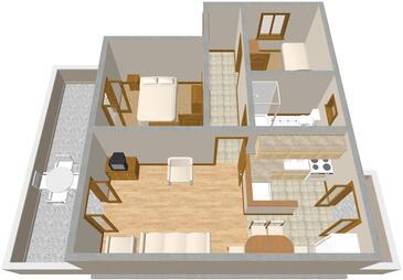 Raslina, Půdorys v ubytování typu apartment, domácí mazlíčci povoleni.