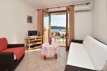 Prižba, Obývacia izba v ubytovacej jednotke apartment, dostupna klima, dopusteni kucni ljubimci i WIFI.