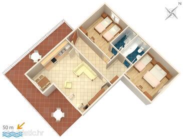 Vodice, Plan in the apartment, dopusteni kucni ljubimci i WIFI.