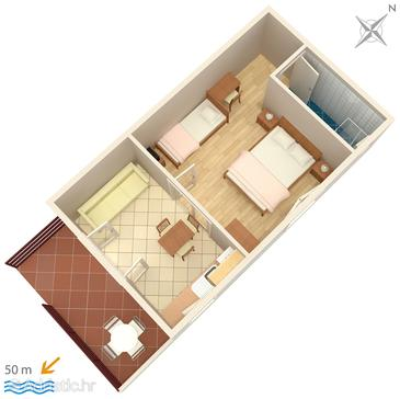 Vodice, Půdorys v ubytování typu apartment, domácí mazlíčci povoleni a WiFi.