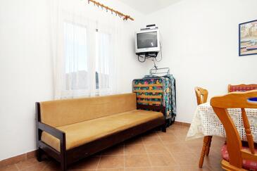 Lumbarda, Obývacia izba v ubytovacej jednotke apartment, dopusteni kucni ljubimci i WIFI.
