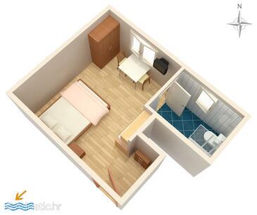 Novalja, Plan in the studio-apartment, WIFI.