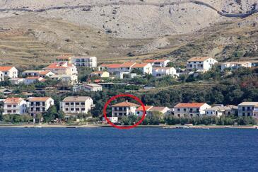 Pag, Pag, Objekt 9355 - Ubytování v blízkosti moře s oblázkovou pláží.