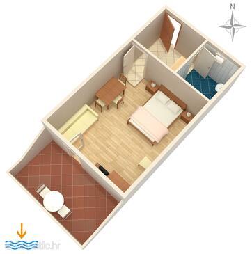 Zubovići, Půdorys v ubytování typu studio-apartment, domácí mazlíčci povoleni a WiFi.