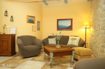 Novalja, Living room in the apartment, dopusteni kucni ljubimci i WIFI.