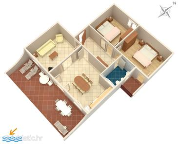 Seget Vranjica, Plan in the apartment, (pet friendly) and WiFi.