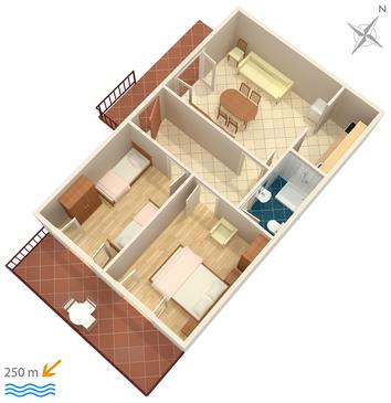 Marušići, Plan kwatery w zakwaterowaniu typu apartment.