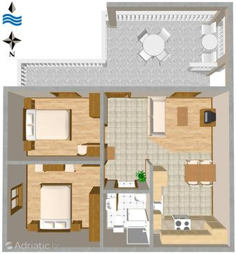 Tribunj, Plan in the apartment.