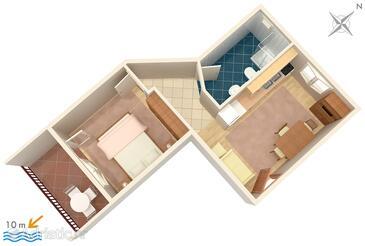 Brodarica, Plan in the apartment, dopusteni kucni ljubimci i WIFI.