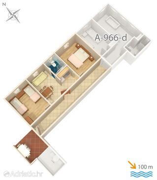 Grebaštica, Půdorys v ubytování typu apartment, WiFi.