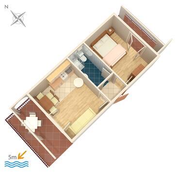Okrug Gornji, Půdorys v ubytování typu apartment, domácí mazlíčci povoleni a WiFi.
