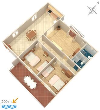 Grebaštica, Nacrt u smještaju tipa apartment, WiFi.
