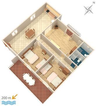 Grebaštica, Pôdorys v ubytovacej jednotke apartment, WiFi.