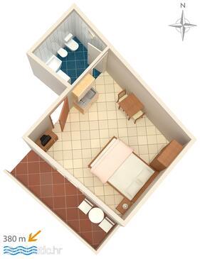 Makarska, План в размещении типа studio-apartment, Домашние животные допускаются и WiFi.
