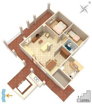 Mavarštica, Půdorys v ubytování typu house, domácí mazlíčci povoleni a WiFi.