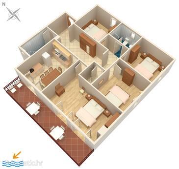 Rabac, Půdorys v ubytování typu apartment, domácí mazlíčci povoleni a WiFi.