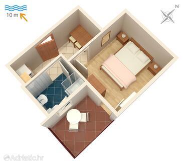 Stara Novalja, Půdorys v ubytování typu apartment.