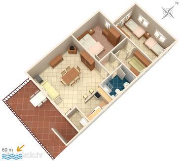 Seget Vranjica, Plan in the apartment, WIFI.