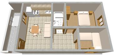 Seget Vranjica, Půdorys v ubytování typu apartment, domácí mazlíčci povoleni a WiFi.