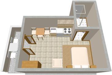 Zaklopatica, Půdorys v ubytování typu studio-apartment, domácí mazlíčci povoleni a WiFi.