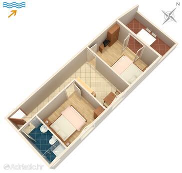Zaklopatica, Půdorys v ubytování typu apartment, domácí mazlíčci povoleni a WiFi.