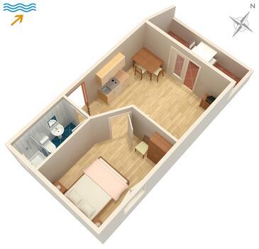 Zaklopatica, Plan kwatery w zakwaterowaniu typu apartment, dopusteni kucni ljubimci i WIFI.