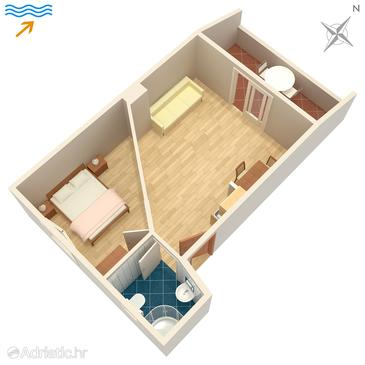 Zaklopatica, Plan in the apartment, dopusteni kucni ljubimci i WIFI.