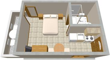 Zaklopatica, Půdorys v ubytování typu studio-apartment, WiFi.