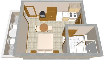 Zaklopatica, Plan kwatery w zakwaterowaniu typu studio-apartment, WiFi.