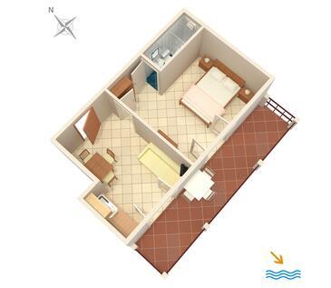 Pasadur, Plan kwatery w zakwaterowaniu typu apartment, dopusteni kucni ljubimci i WIFI.