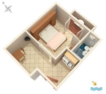 Pasadur, Plan kwatery w zakwaterowaniu typu studio-apartment, zwierzęta domowe są dozwolone i WiFi.