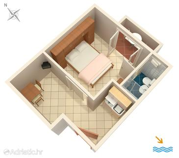 Pasadur, Plan in the studio-apartment, dopusteni kucni ljubimci i WIFI.
