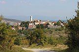 Panoráma miesta Oprtalj, riviéra Vnútrozemie Istrie